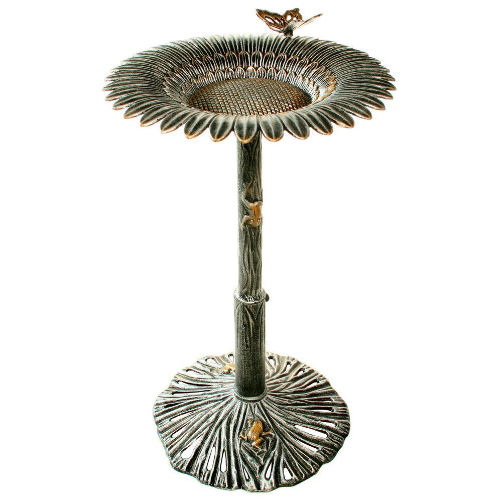 Antique Pewter Sunflower Butterfly Birdbath