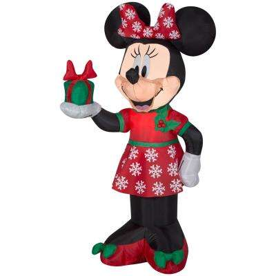 42 in. Inflatable Airblown-Minnie with Present