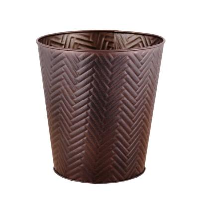 3 gal. Chevron Bronze Round Trash Can