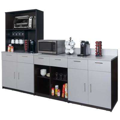 Coffee Kitchen Espresso / Silver Sideboard with Lunch Break Room Functionality with Assembled Commercial Grade 3396