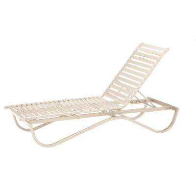 Scandia Antique Bisque Commercial Strap Stackable Patio Chaise Lounge