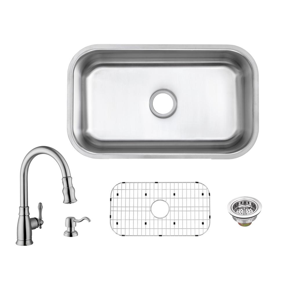 Glacier Bay All In One Undermount 18 Gauge Stainless Steel 30 In