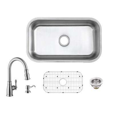 All-in-One Undermount 18-Gauge Stainless Steel 30 in. Single Bowl Kitchen Sink with Pull-Out Kitchen Faucet