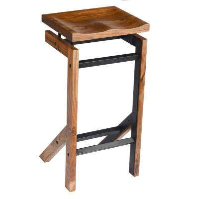 29 in. Brown and Black Metal Frame Acacia Wood Bar Stool with Saddle Seat
