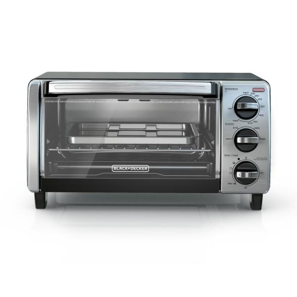 BLACK+DECKER B+D 4-Slice Natural Black Convection Toaster Oven (3-Knob) TO1750SB