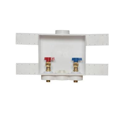 Quadtro 2 in. Copper Sweat Connection Washing Machine Outlet Box with 1/4 Turn Brass Screw-On Ball Valves