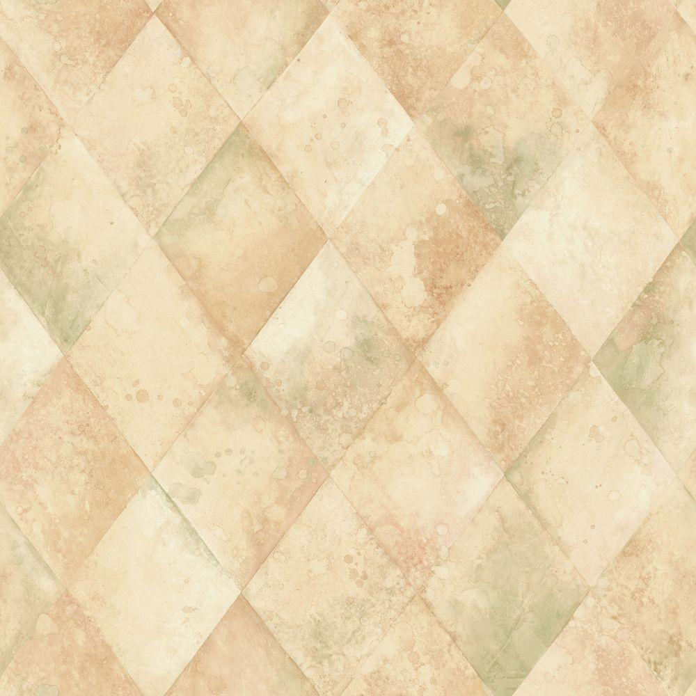 The Wallpaper Company 56 sq. ft. Beige and Green Textured Harlequin Wallpaper-DISCONTINUED