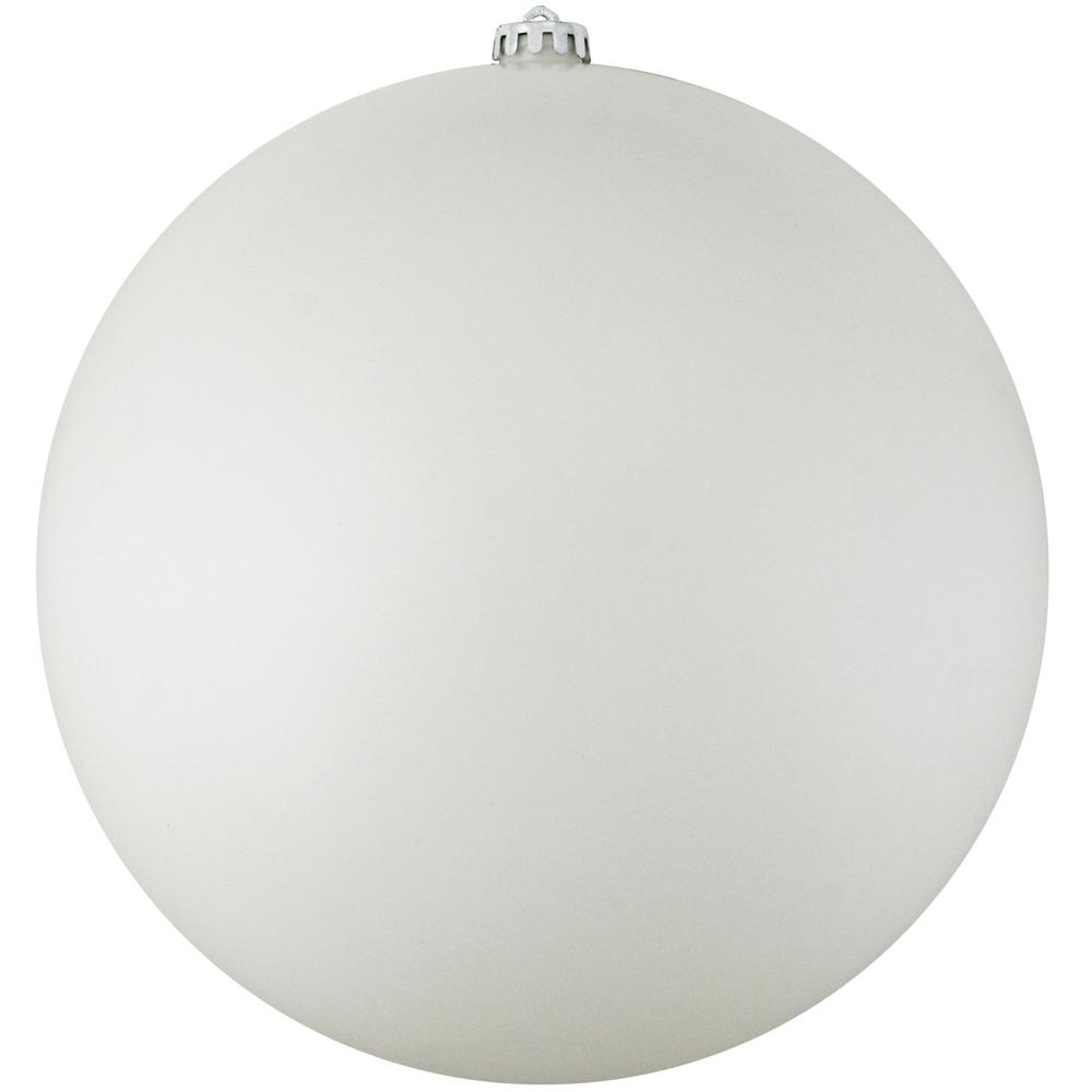 12 in. (300 mm) Matte Winter White Commercial Shatterproof Christmas Ball