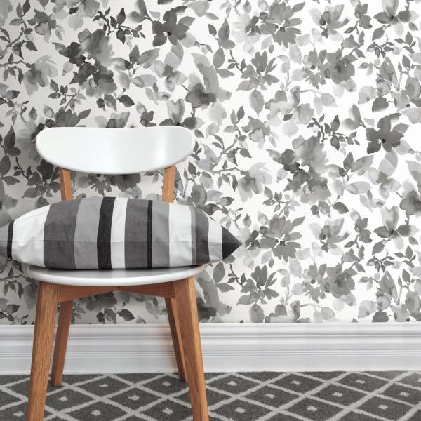 Roommates Black Watercolor Floral Vinyl Peelable Wallpaper Covers 28 18 Sq Ft Rmk11236wp The Home Depot