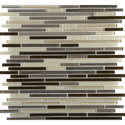 Infinity Time Glossy 11.73 in. x 11.73 in. x 4mm Glass Mesh-Mounted Mosaic Tile (0.96 sq. ft.)