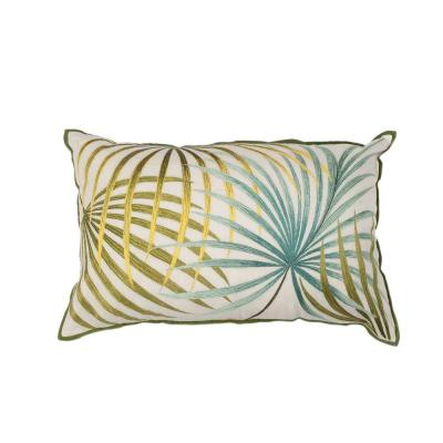 Fresh & Cool Ivory and Green Geometric Hypoallergenic Polyester 12 in. x 20 in. Throw Pillow