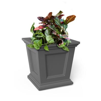 16 in. Graphite Grey Resin Self-Watering Fairfield Square Planter