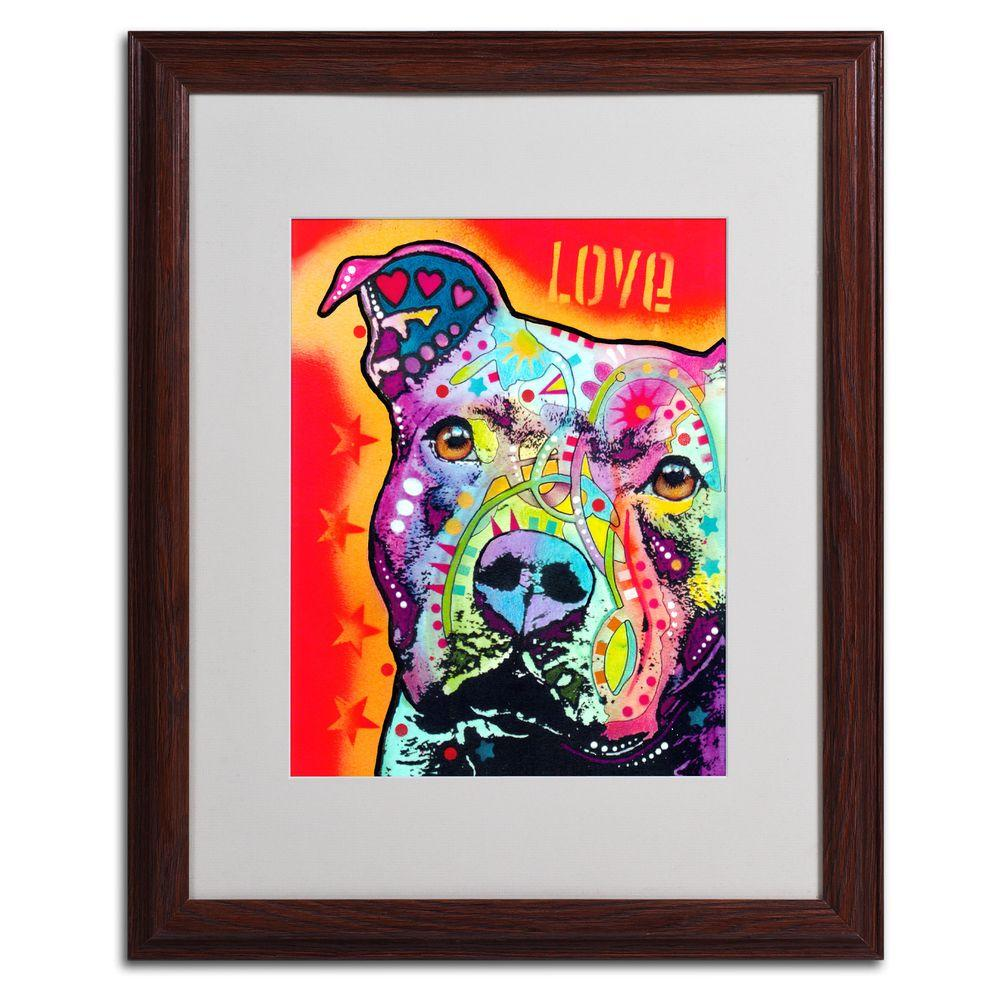 Trademark Fine Art 16 in. x 20 in. Thoughtful Pitbull Matted Brown Framed Wall Art