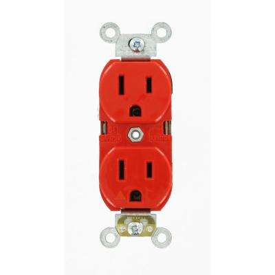 15 Amp Industrial Grade Heavy Duty Islolated Ground Duplex Outlet, Red