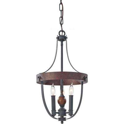 Alston 12 in. W. 3-Light Weathered Charcoal Brick/Antique Forged Iron Rustic Mini Chandelier with Faux Wood Detail