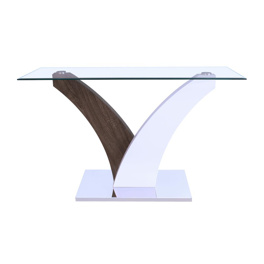 ACME Forest End Table Clear Glass in White and Walnut, Cl...