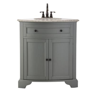 Hamilton 31 in. W x 23 in. D Corner Bath Vanity in Grey with Granite Vanity Top in Grey with White Sink