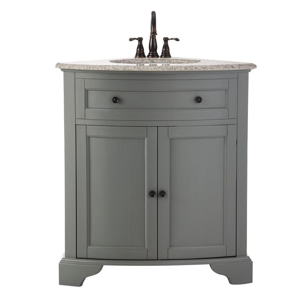 Hamilton 31 in. W x 23 in. D Corner Bath Vanity in Grey with Granite Vanity Top in Grey with White Basin