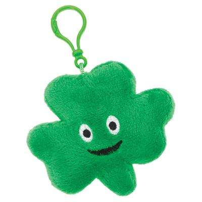 4.5 in. St. Patrick's Day Green Polyester Shamrock Plush Clip On Keychain (4-Pack)