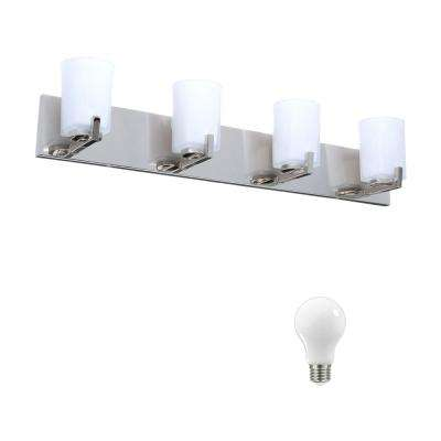 Wellman 4-Light Polished Nickel Vanity Light with Etched White Glass Shades, Dimmable LED Daylight Bulbs Included