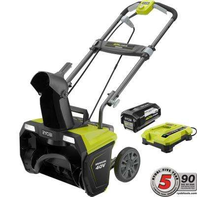 20 in. 40-Volt Brushless Cordless Electric Snow Blower - 5.0 Ah Battery and Charger Included