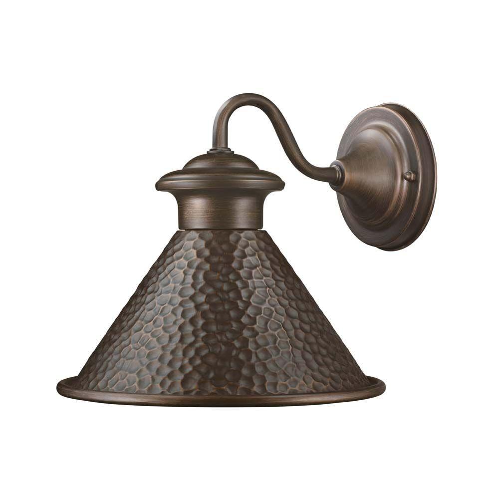Hampton Bay Essen 1-Light Antique Copper Outdoor Wall Mount Lantern