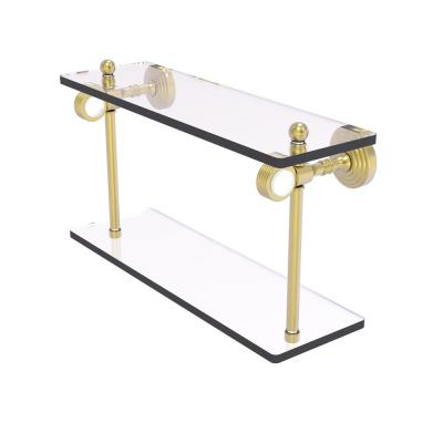 Pacific Grove 16 in. 2-Tiered Glass Shelf with Groovy Accents in Satin Brass