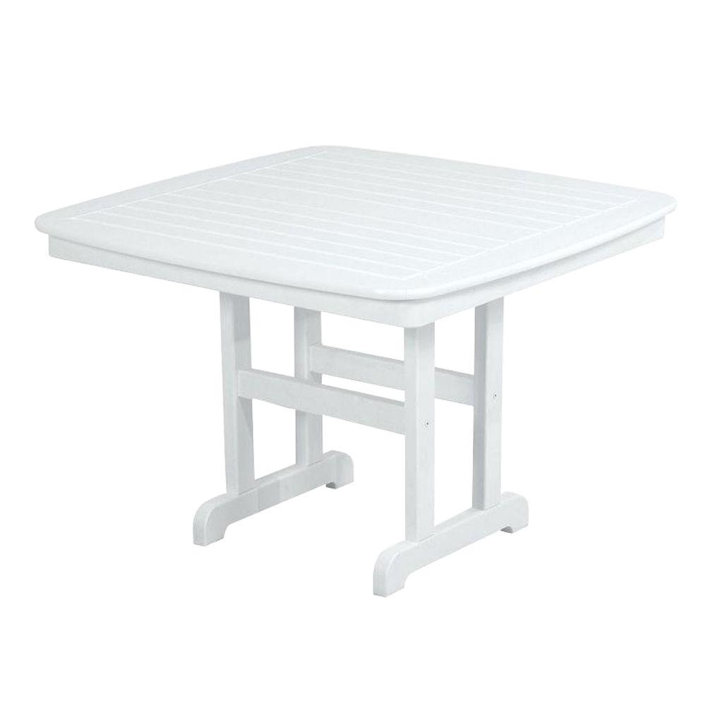 POLYWOOD Nautical 44 In. White Plastic Outdoor Patio