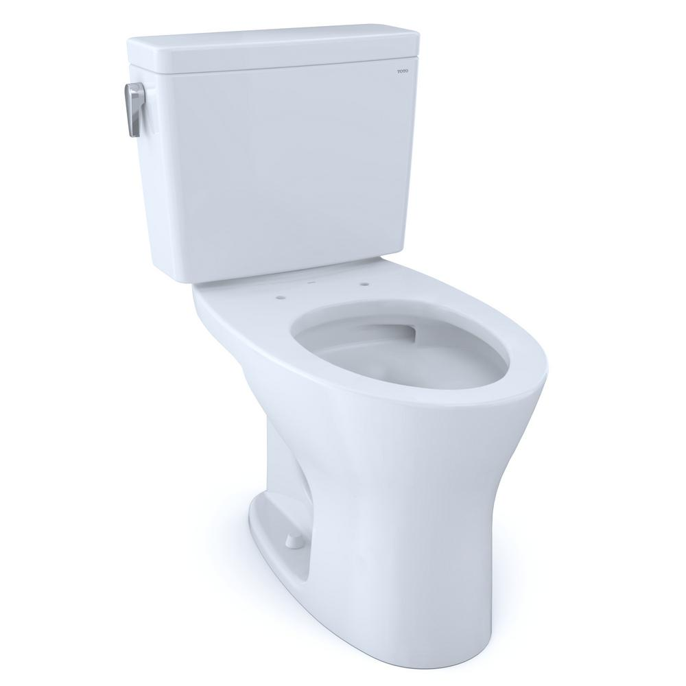 TOTO Drake 1G 10 in. Rough-In 2-Piece 1.0 GPF and 0.8 GPF Dual Flush Elongated Toilet in Cotton White, Seat not Included