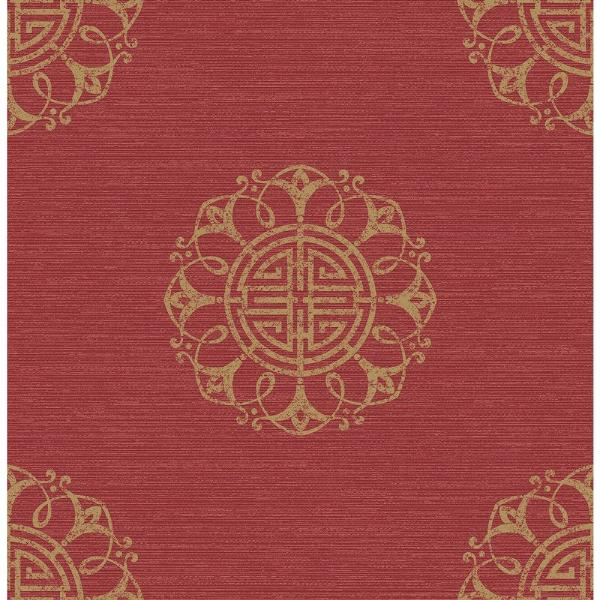 Beacon House Lien Red Fountain Medallion Wallpaper 2669-21725