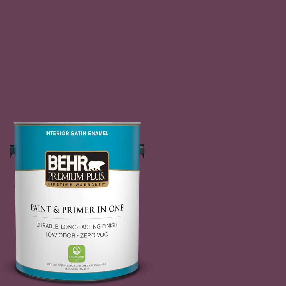 1 gal. #PPU1-20 Spiced Plum Zero VOC Satin Enamel Interior Paint