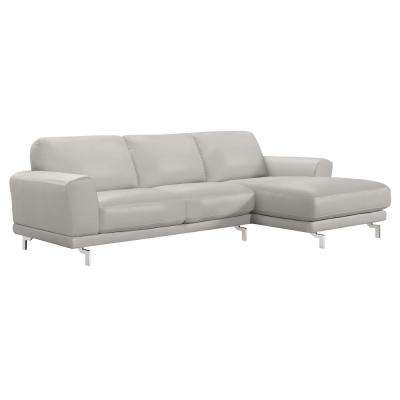 Everly Dove Grey Contemporary Sectional in Genuine Leather with Brushed Stainless Steel Legs