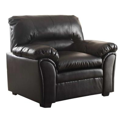 Black Bonded Leather Upholstered Chair with Padded Armrests