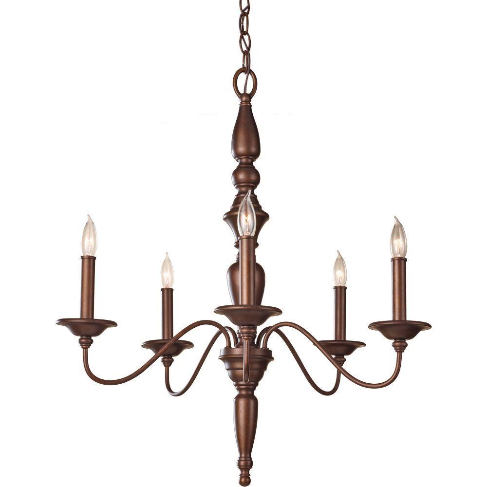 Feiss Yorktown Heights 5-Light Prescott Bronze 1-Tier Chandelier