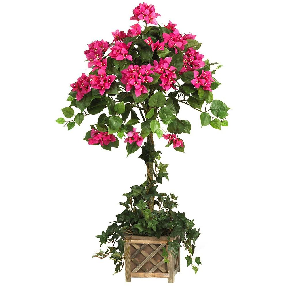 Nearly Natural 34 in. Bougainvillea Topiary Silk Plant with Wood ...