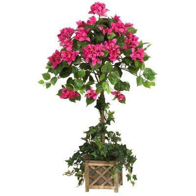 34 in. Bougainvillea Topiary Silk Plant with Wood Box