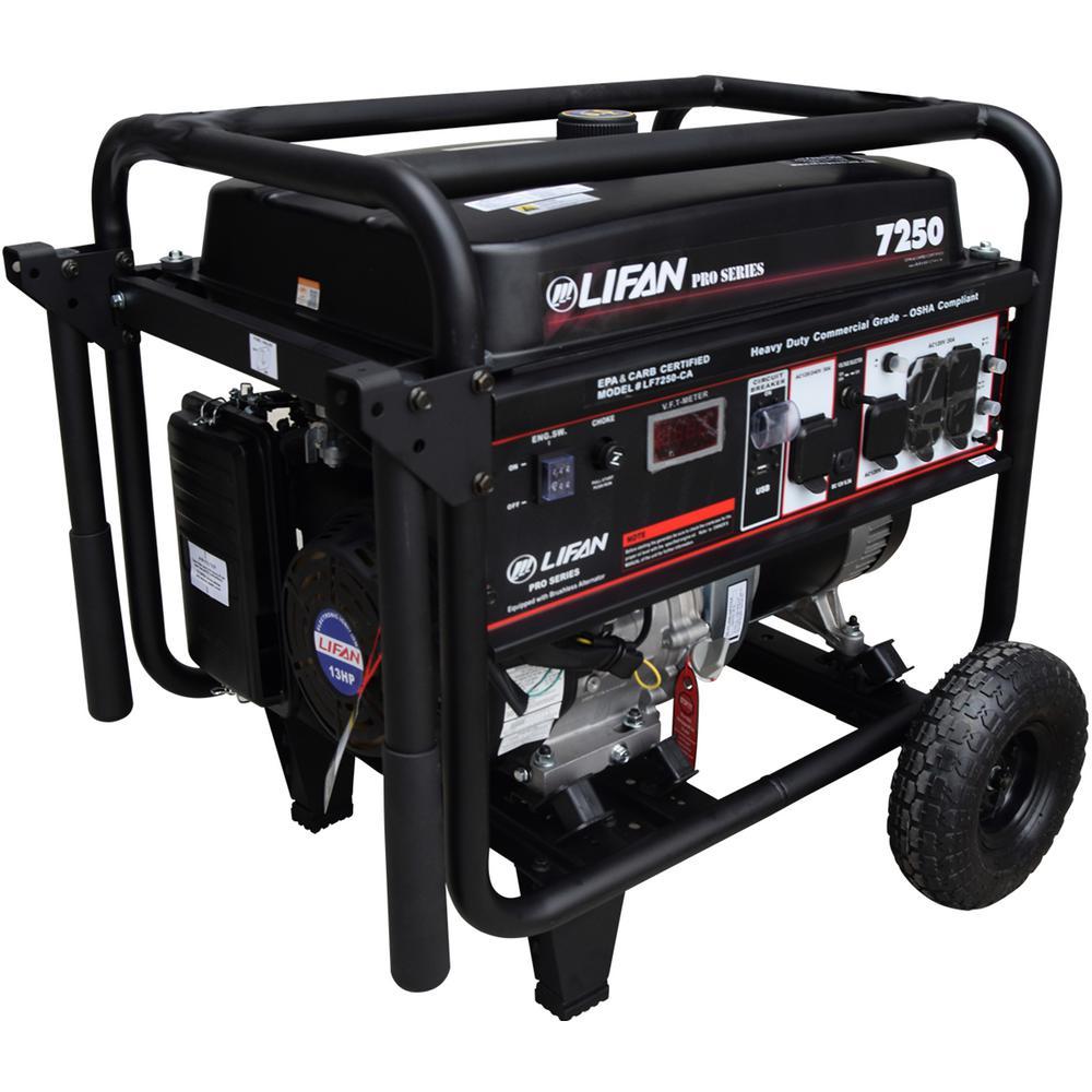 LIFAN OSHA Compliant Pro-Series 7,250/6,500-Watt Gasoline Powered Portable Generator