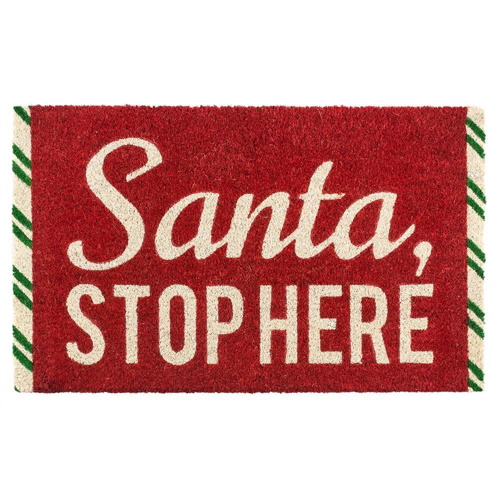 Santa Stop Here 17 in. x 28 in. Non-Slip Coir Door Mat