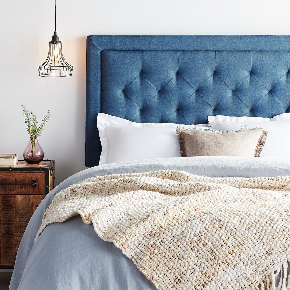 Brookside Navy Upholstered Twin Twin Xl Headboard With
