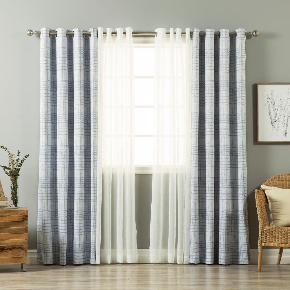 home fashion    umixm light blue sheer linen   grid curtain  pack mmslinen
