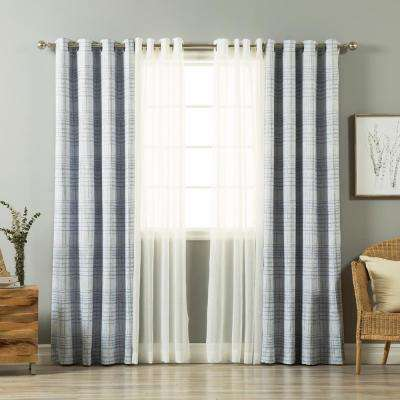 84 in. L uMIXm Light Blue Sheer Linen Look and Grid Curtain (4-Pack)