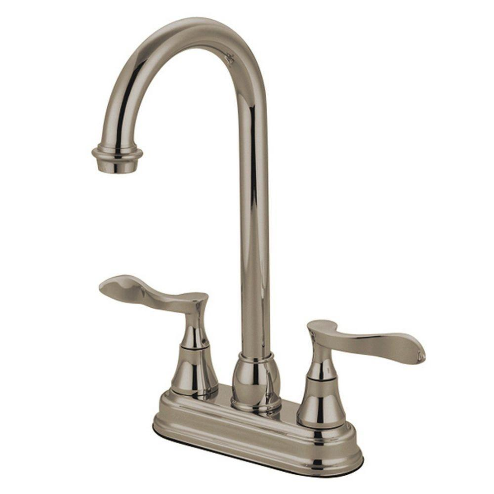 Kingston Brass French 2-Handle Bar Faucet in Satin Nickel