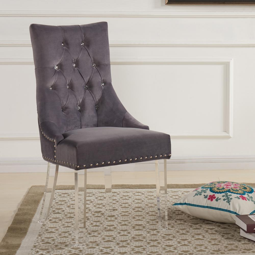 Gray Velvet And Acrylic Finish Modern Tufted Dining Chair