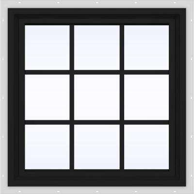 24 in. x 24 in. V-4500 Series Bronze FiniShield Vinyl Fixed Picture Window with Colonial Grids/Grilles