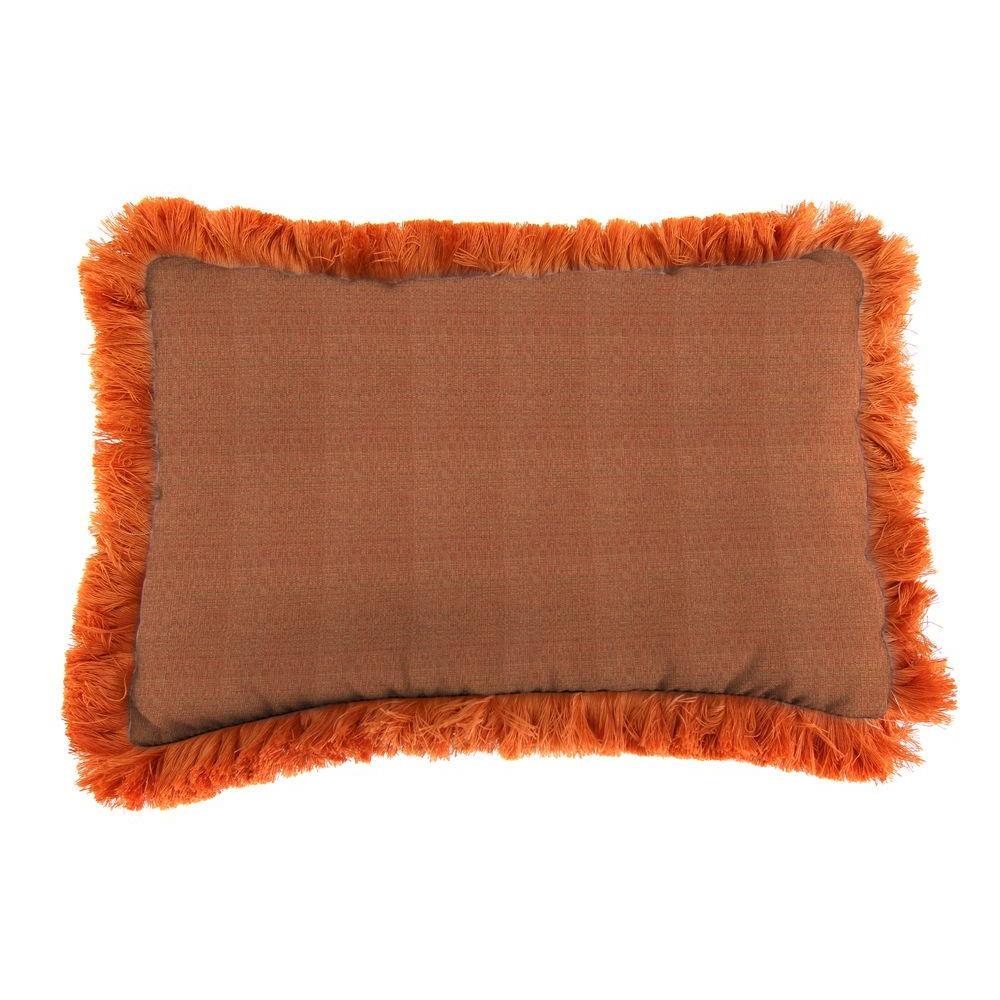 Jordan Manufacturing Sunbrella 9 in. x 22 in. Linen Chili Lumbar Outdoor Pillow with Tuscan Fringe