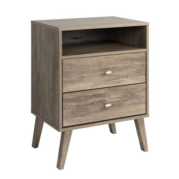 Prepac Milo Mid Century Modern 2 Drawer Drifted Gray Tall Nightstand With Open Shelf Ddnr 1401 1 The Home Depot,Weekly Bedroom Cleaning Checklist