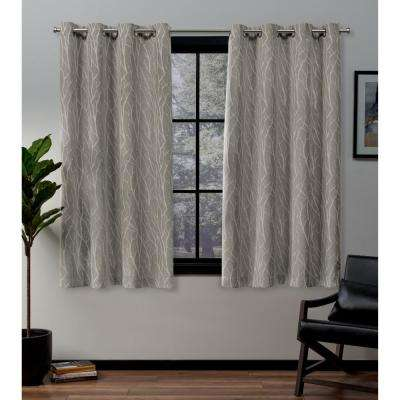Forest Hill 52 in. W x 63 in. L Woven Blackout Grommet Top Curtain Panel in Natural (2 Panels)