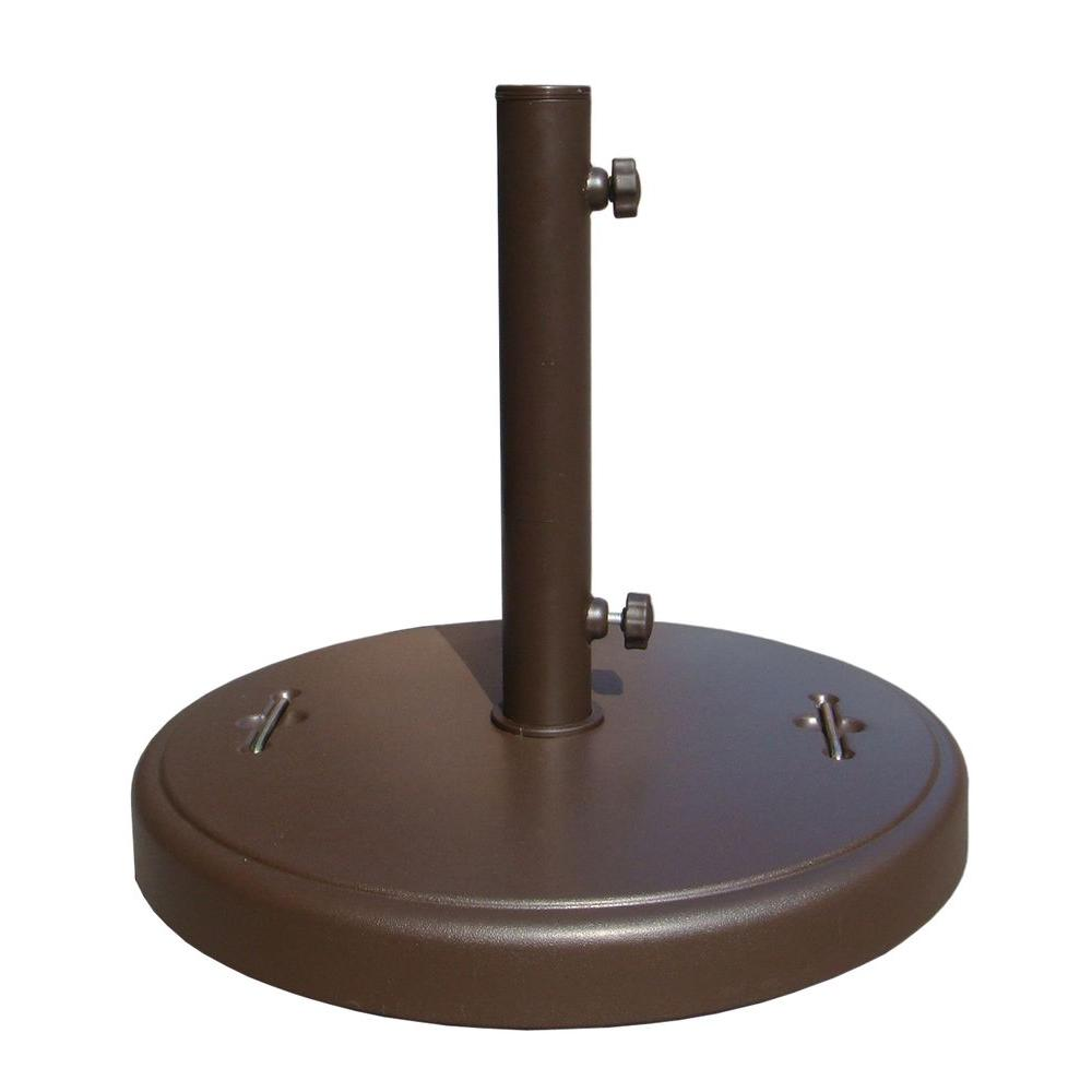 Brown Patio Umbrella Base With Hidden Wheels