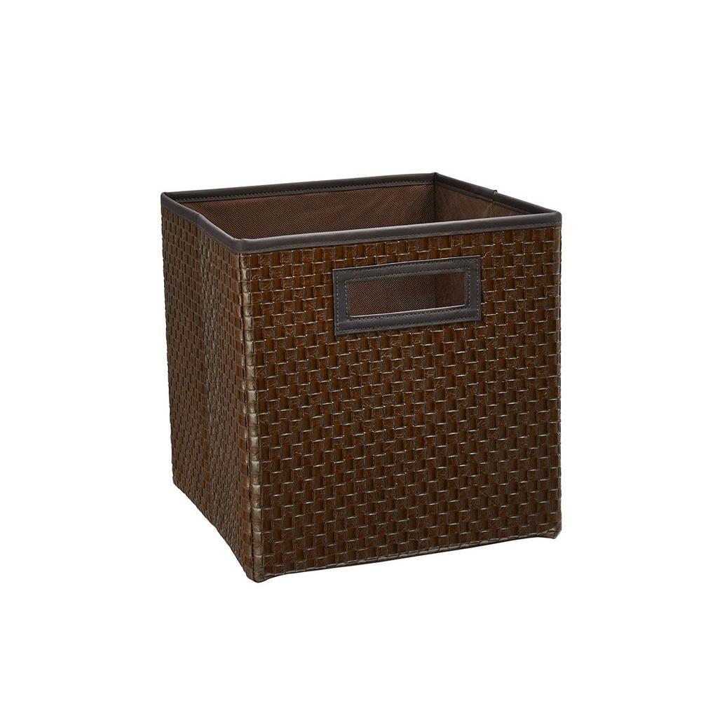 11 in. D x 11 in. H x 11 in. W Brown Feux Fabric Cube Storage Bin