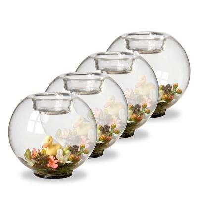 4 in. Candle Holder with Flowers and Duck (Set of 4)